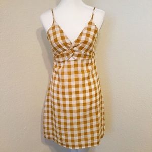 Mustard Yellow Gingham 90s Style Sleeveless Dress
